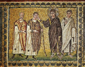 Jesus heals two blind men, an apostle behind him. Mosaic (6th)