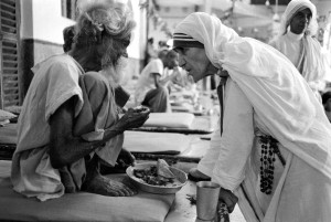 INDIA - OCTOBER 01:  Mother Teresa and the poor in Calcutta, India in October, 1979.  (Photo by Jean-Claude FRANCOLON/Gamma-Rapho via Getty Images)